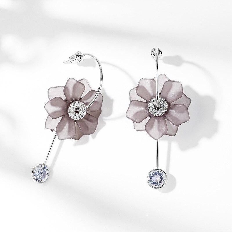 DuoTang mode cubique zircone gris fleur boucles d'oreilles à la mode strass coréen fille coeur boucles d'oreilles pour les femmes cadeau H1657