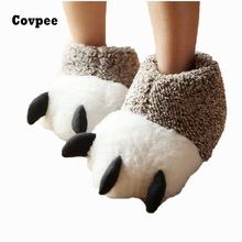 New Fashion Thermal Winter Indoor Cotton Padded Plush Cartoon Bear Claw Non-slip Slippers Home Cotton Slippers Floor Shoes ctx19