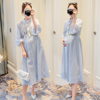 Summer Embroidery Cotton Linen Nursing Clothes Half Sleeved Maternity Dress For Pregnant Women Breast Feeding Long