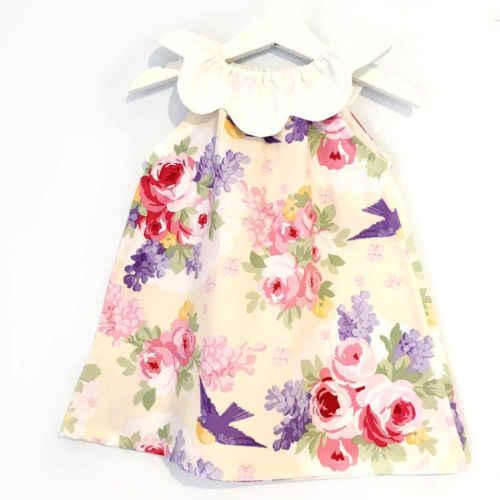 Adorável bebê Recém-nascido Da Criança Crianças Bebê Menina Princesa Lotus Collar Floral Vestido Outfit Roupas Vestidos de Verão