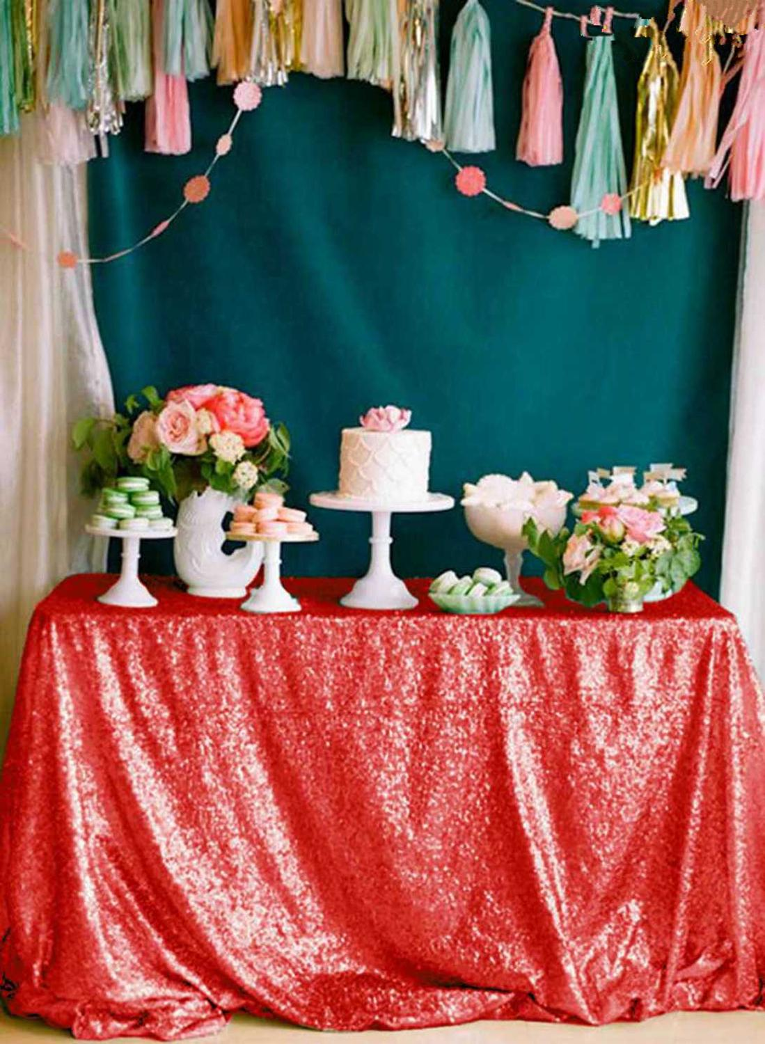 90*132inch - 225*330cm Red Rose Gold Silver Pink Royal Blue Sequin Tablecloth Rectangle Glitter table cover for Party Wedding