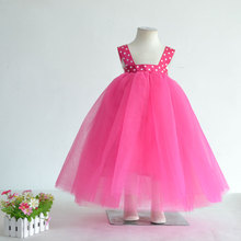 Korea Fashion Style Solid Color Girls Dress Kids Gown Dresses Wedding Party Dress Infant Clothing China