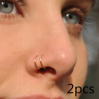 2pcs 14k Gold Filled Sterling Silver Fake Nose Ring Handmade Double Cuff NO PIERCING Punk Fashion