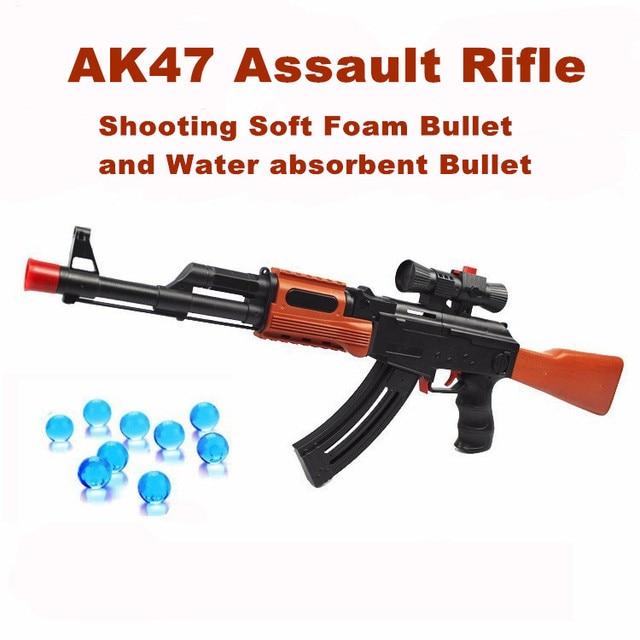 Classic AK 47 Assault Rifle Toy Gun Shooting Soft Bullet Water Absorbent Bullet Blaster Gun Toy Boys Best Gift
