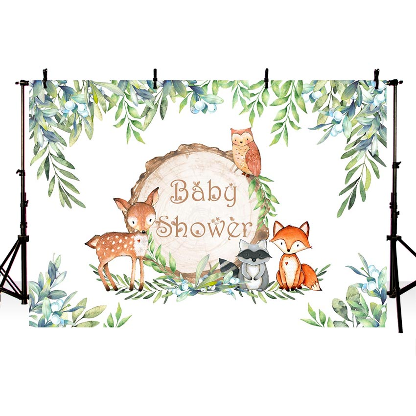 MEHOFOTO Vinyl Woodland Baby Shower Backdrops Flower Leaves Animal Birthday Party Backdrop Photography Prop Photo Background in Background from Consumer Electronics