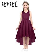 IEFiEL ילדי ילדים בנות חתונת פרח בנות שמלת נסיכת המפלגה תחרות לבוש הרשמי לנשף קטן תינוקת יום הולדת שמלה