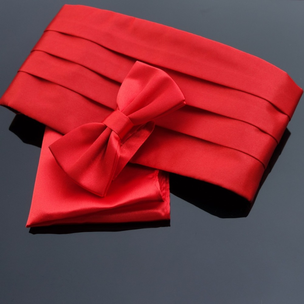 Ikepeibao Red Cummerbund Sets Pocket Square & Bowties Premium Men's Tuxedo Formal Noeud Papillon Sash Wide Belts Ceremonial Belt