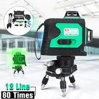 12 линия 3D 360 градусов крест Зеленый Авто лазерного наливные вертикальные и горизонтальные уровень со штативом Водонепроницаемый отвес точк