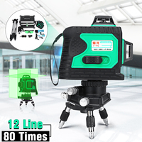 12 Line 3D 360 Degree Cross GREEN Laser Auto Self Leveling Vertical Horizontal Level with Tripod Waterproof Plumb point Function