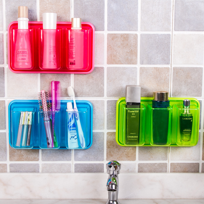 Self-adhesive wall storage rack, multi-functional kitchen shelving strong glue bathroom toothbrush holder