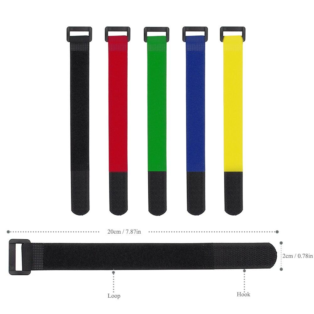 10 bridas de velcro para cables 400 x 30 mm color negro y rojo