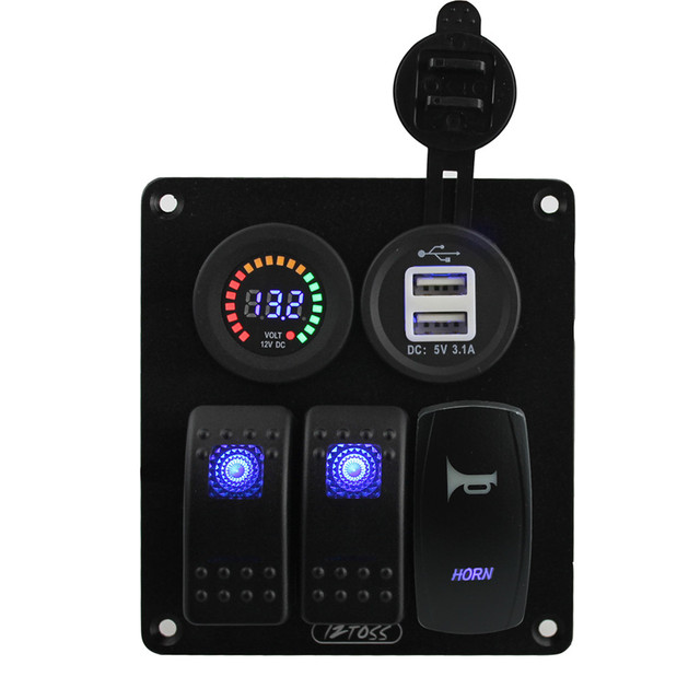 5 pin Blau led 3 gang rocker switch panel horn schalter 3,1 Ein dual ...