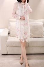 Hot sale women blouse  100% silk female shirt silk dress long coat sun proof clothing ultraviolet-proof b147