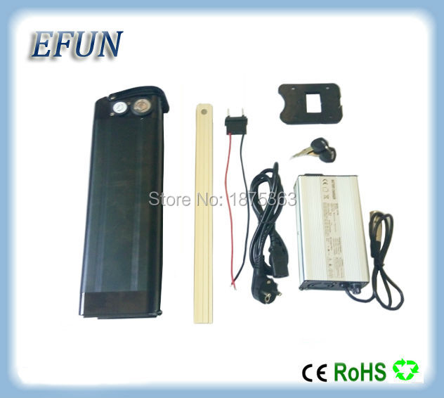 Free shipping Silver fish style 48V 12.5Ah Li-ion battery pack 18650 rechargeable battery for city bike with 54.6V charger free shipping 50a discharge rate lithium battery 48v 50ah 18650 rechargeable li ion battery pack with 2000w bms and charger