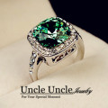 White Gold Plated Royal Design Austrian Crystal Square Green Simulated Emerald Lady Finger Ring Wholesale 18krgp