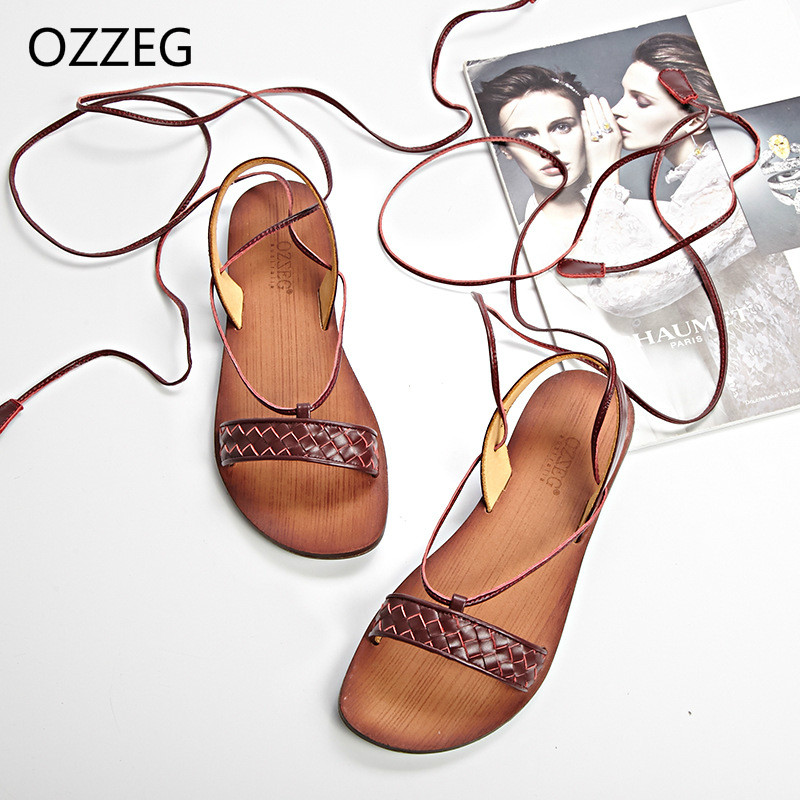 Фото Woman Summer Sandals Genuine Leather Cow Leather Shoes Fashion Ladies Lace Up Rome Gladiator Women