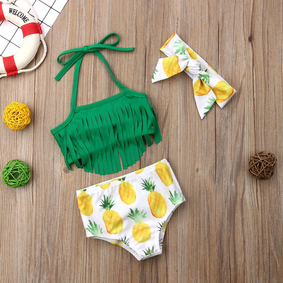 Hirigin Baby Girls Bikini 2019 Baby Kids Swimwear Tassels Fruit Pritned Swimming Suit With Headband Free 3 Piece Set Beachwear
