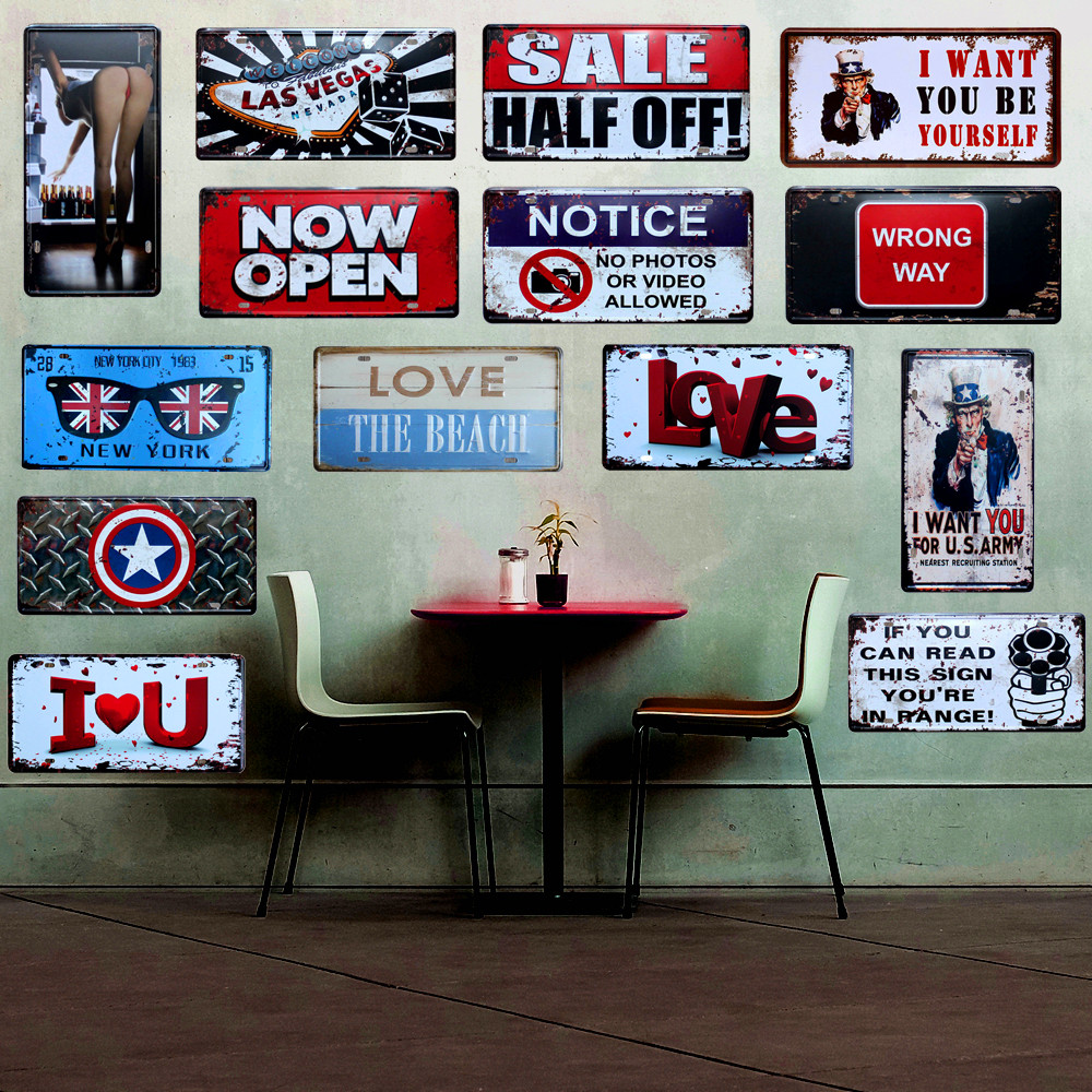 Antique Style Love Poster Home Pub Wall Decor Metal Vintage Tin Signs Bar