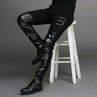2015 new fashion tight fitting slim black leather men pants black zipper hip hop skinny male trousers nightclub bar costumes