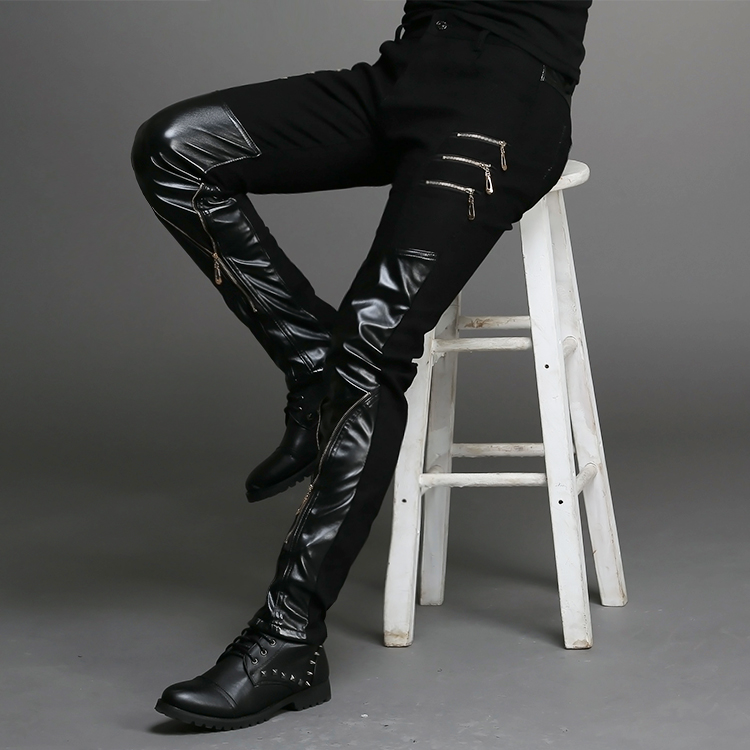 2015 New Fashion Tight-fitting Slim Black Leather Men Pants Black Zipper Hip-hop Skinny Male Trousers Nightclub Bar Costumes