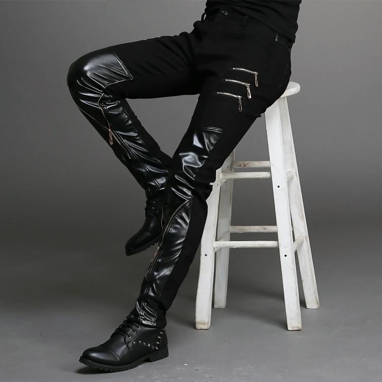 2015 New Fashion Tight-fitting Slim Black Leather Men Pants Black Zipper Hip-hop Skinny Male Trousers Nightclub Bar Costumes