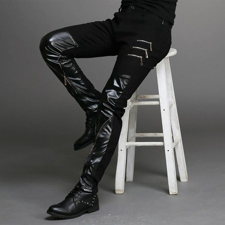 2015 nueva moda ajustada de cuero negro para hombre pantalones negros con cremallera hip-hop skinny Hombre Pantalones discoteca bar disfraces