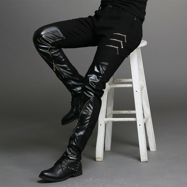 Moda Cuero Pantalones Nueva 2015 Para Ajustada Negro De Hombre Ffafqw eece9b638dea