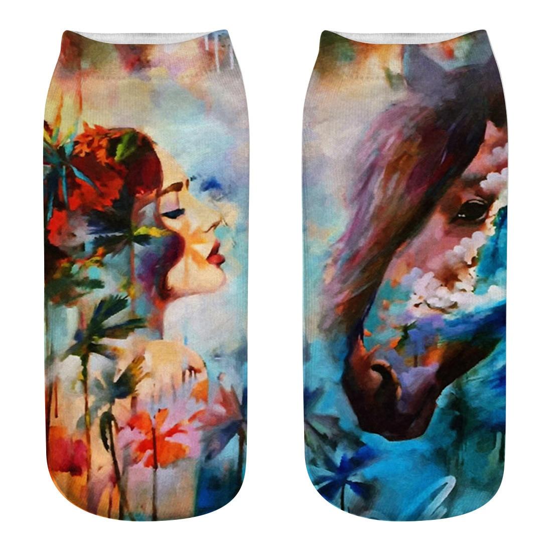 2018 Women /Man 3D Print Cute Low Cut Ankle Sock Harajuku Oil Painting Personality Printing Pattern Casual Funny Socks