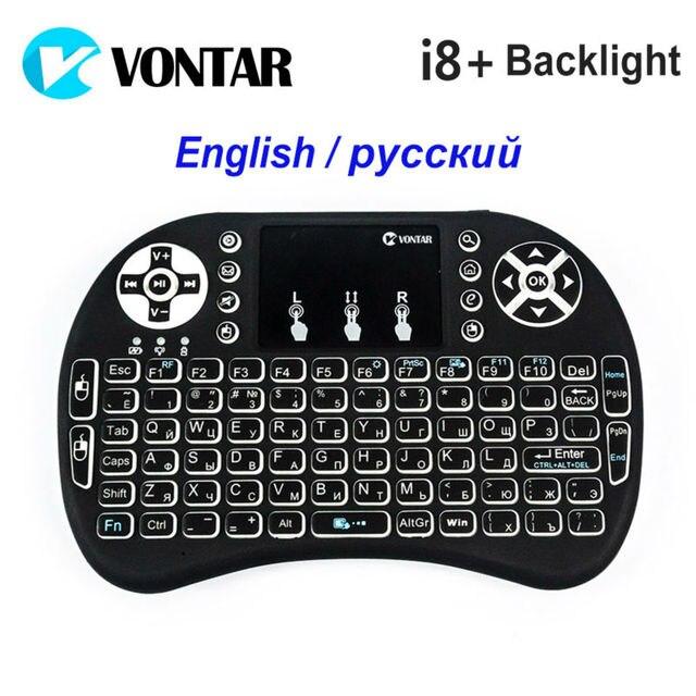 VONTAR Подсветкой i8 + Английский Русский Подсветкой Мини Беспроводная Клавиатура 2.4 ГГц Air Mouse Игры Touchpad для Android TV BOX ноутбук