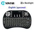 VONTAR i8 + Inglês Russo Retroiluminado Backlight Mini Teclado Sem Fio 2.4 GHz Air Mouse Gaming Touchpad para Android TV BOX Laptop