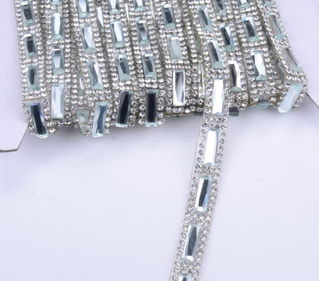 freeship 5Yard lot ClearGlass Hotfix Rhinestone Chain Banding Strass  Crystals Trim Mesh Bridal Applique For e77198f36665