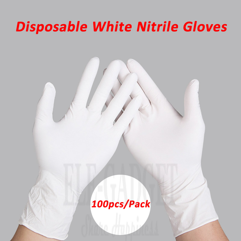 цена на 100pcs/pack Ambidextrous White Disposable Nitrile Gloves Oil-Proof Protective Gloves For Medical Industrial Food Process
