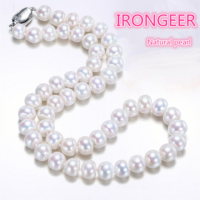 Highest quality 8-9mm perfect bread-shaped natural pearl necklace fashion necklace For women Mother's gift Free shipping