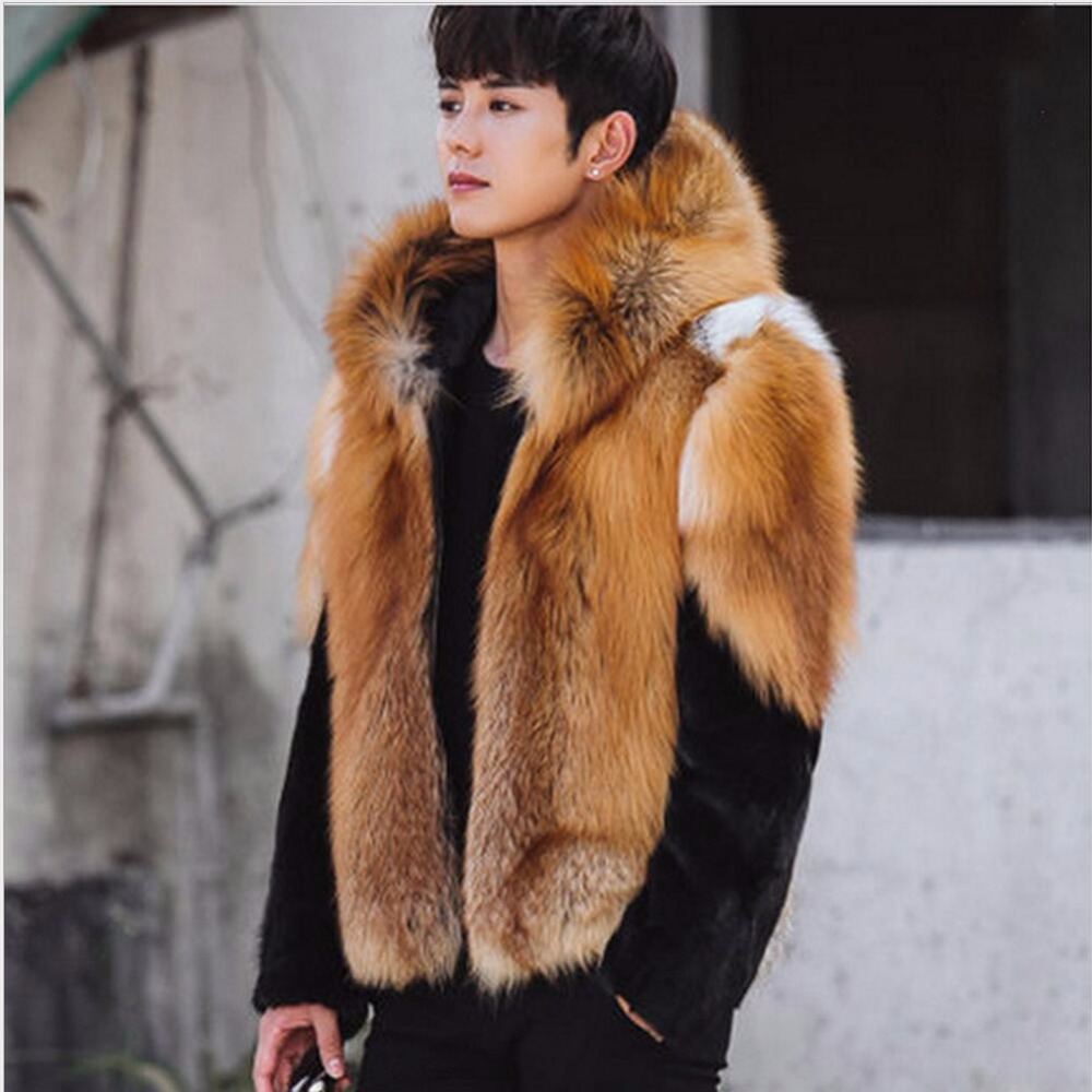 S-5XL 2018 Men winter fashion faux fur Splice coat personality thick Imitation mink fur coat Leather jacket tide stage clothing