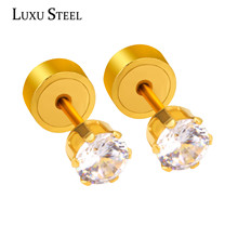 LUXUSTEEL Fashion 3/4/5mm Round Crystal Earrings Stainless Steel Surgical Steel Gold/Silver Color Stud Earring For Women/Kid Jew