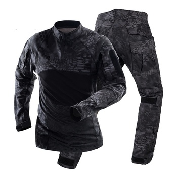 Camouflage Military Army Tactical Uniform Set Multicam Black Combat Shirt BDU Pants Men Hunting Clothes Airsoft Sniper Clothing 4
