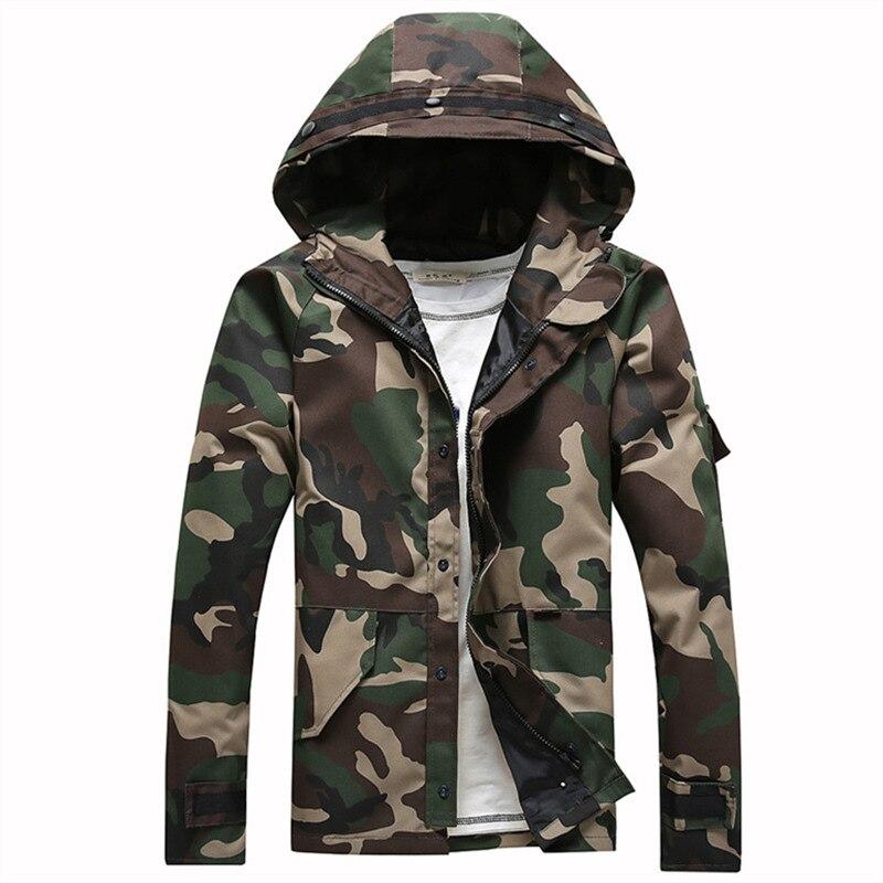 Nouvelle tendance à capuche Camouflage Veste hommes Veste Homme 2017 printemps mode Slim Fit armée vert hommes vestes et manteaux