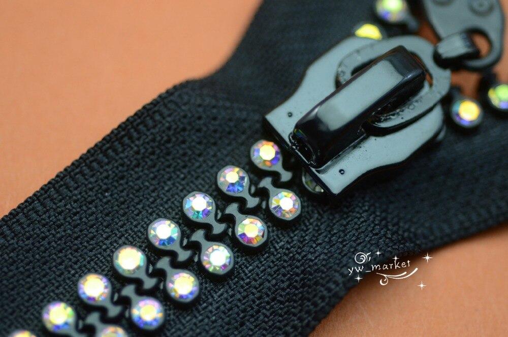 2 pcs 60cm 2-row A grade AB Crystal Rhinestone zippers Great for Western Shirt