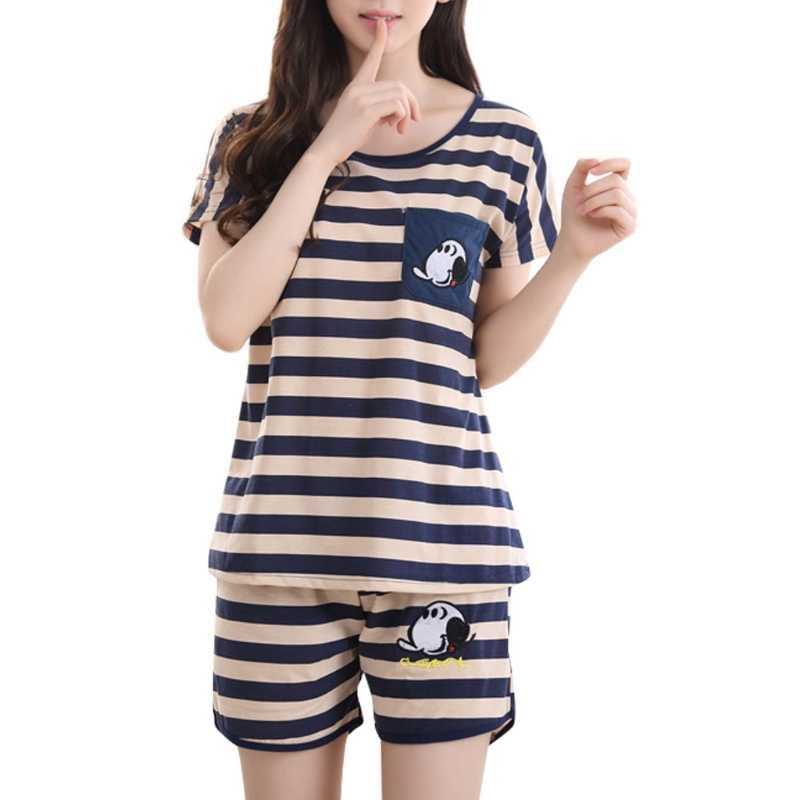 b35d8b3bb2 ... Women Cartoon Pajamas Short Sleeve Cotton Pyjamas Set Home Nightwear  Sleepsuit ...