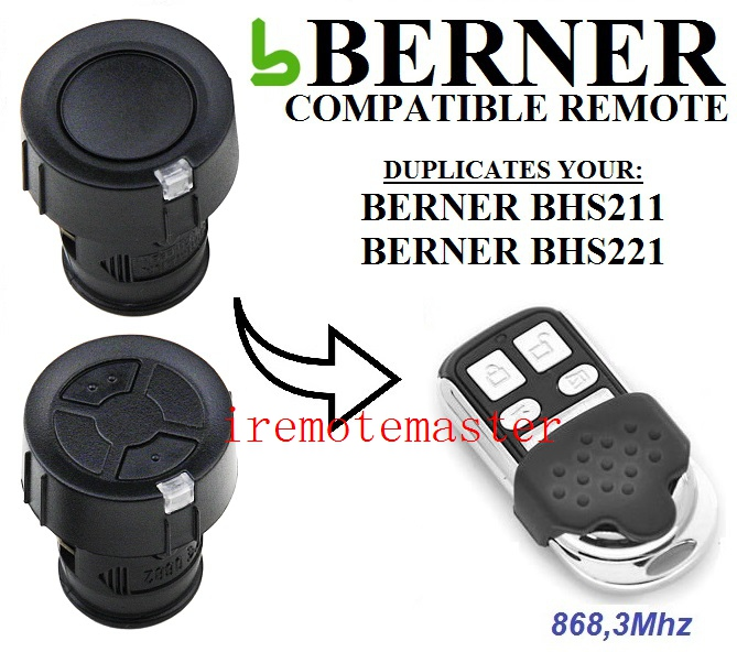BERNER BHS211,BHS221 garage door remote control replacement free shipping