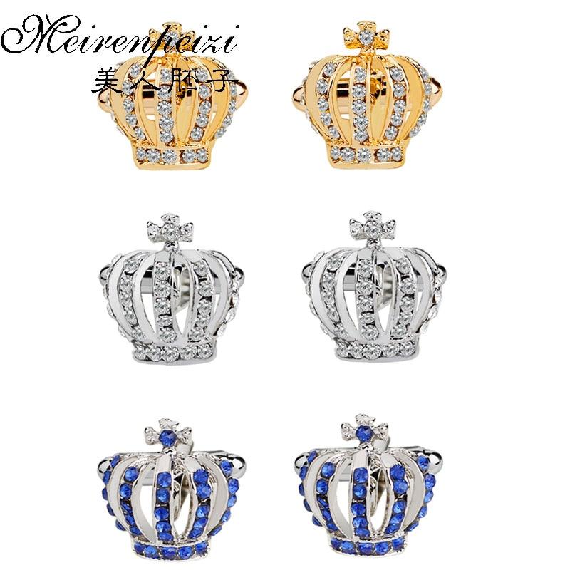 Crown Cufflinks For Men Women Classic Crystal Rhinestone Shirt Cufflinks Wedding Gifts Bling Cuff Links Jewelry Anniversary Gift