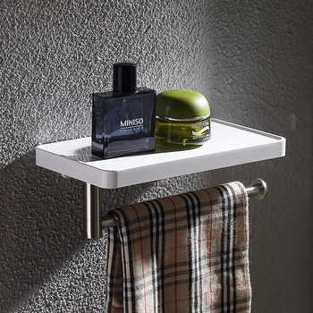 Popular White ABS Plastic and stainless steel bathroom shelf with Towel rack towel holder Bathroom hardware accessories