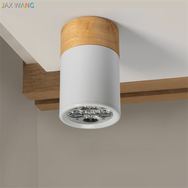 Led Wall Mounted Barrel Light Ceiling Lights Flush Panel Living Room Solid Wood Round Aisle Balcony Lamps 3w5w Fixtures