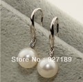 Free Shipping Natural Freshwater Pearl Earrings, 8.5-9mm pefectly round pearl, 925 silver accessory
