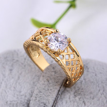 Wedding Engagement Rings Hollow Out Rhombus Pattern CZ Zirconia Yellow Gold Gold Filled Ring for Women rhinestone engagement hollow out ring