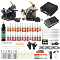 Solong Tattoo Starter Complete Tattoo Kit 2 Professional Coils Machine Guns Set 28 Inks Power Supply Needle Grips Tips TK222