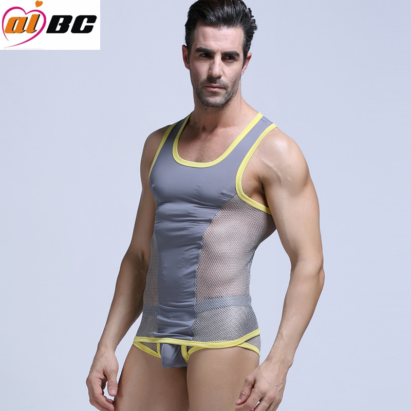 Sexy Men Underwear Mesh Vīriešu Fast Dry Tank Tops Gay Fitness Vest Cross Vest Tops