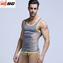 Sexy Men Underwear Mesh Men's t shirt  Fast Dry Tank Tops Gay Fitness Vest Cross Vest Tops