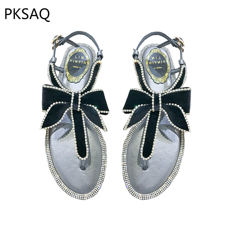 New Summer Women Sandals Elegant Velvet Bow Shoes Ladies Sweet Crystal Shoes Outdoor Beach Shoes camel shoes ladies sweet bow sheepskin shoes elegant ladies increased within shoes soft surface a93194626