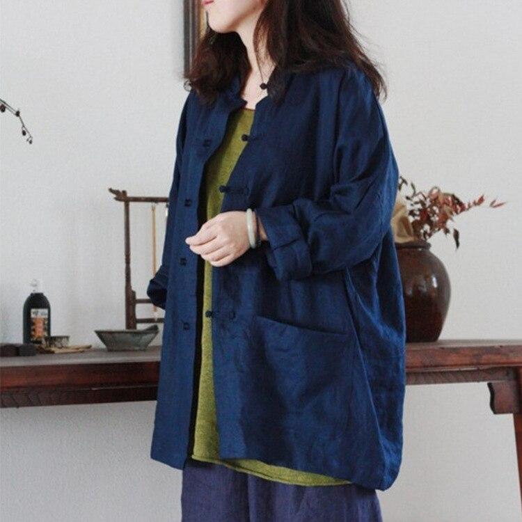 Original printemps haut pour femme à manches longues plaque boutons couleur unie coton linge Blouses lâche chemises décontractées élégant